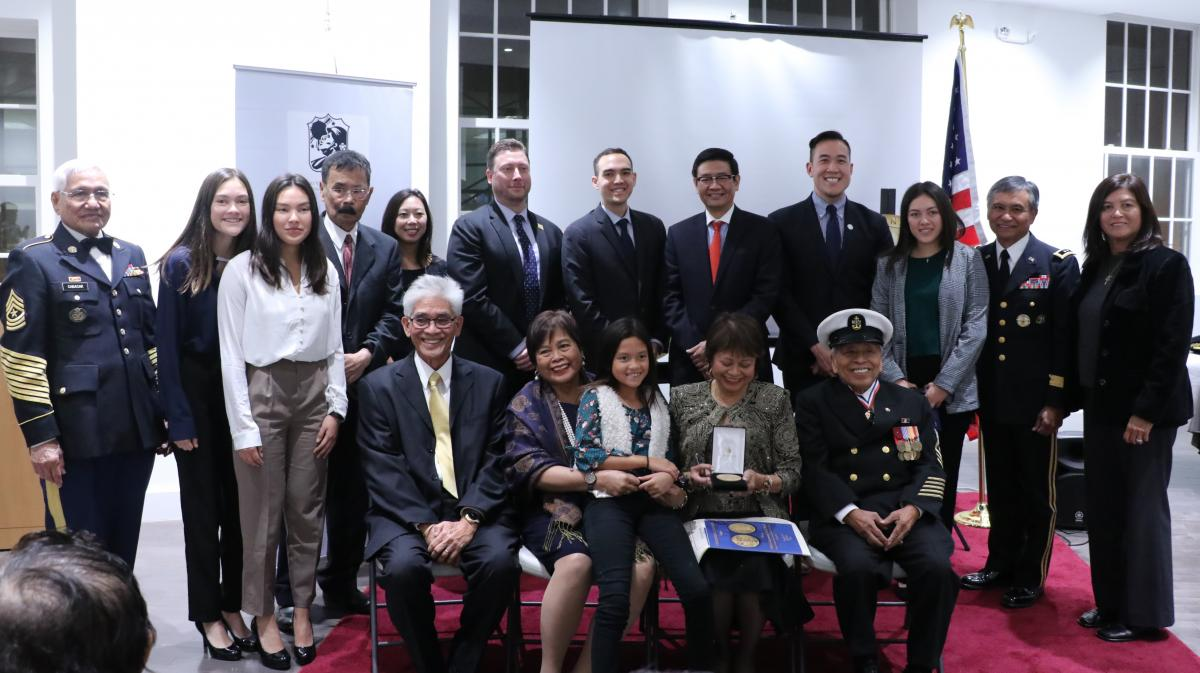 The next-of-kin of nine Filipino World War II veterans receive bronze replicas of the<br /> Congressional Gold Medal at the anniversary celebration of the Awarding by the US<br /> Congress of the Congressional Gold Medal to Filipino and American World War II<br /> Veterans, held at the Philippine Chancery Annex Building on Oct. 24, 2018.